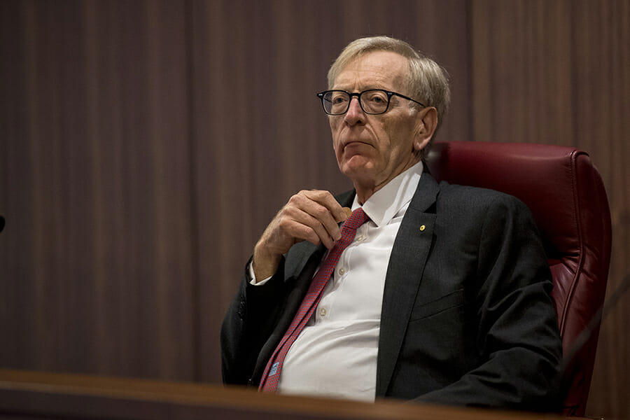 Commissioner Kenneth Hayne during The Royal Commission's initial public hearing into Misconduct in the Banking, Superannuation and Financial Services Industry in Melbourne, (Photo: AAP)